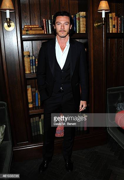 Luke Evans arrives for the London Collections Men Esquire party at the Rosewood London on January 6 2014 in London England
