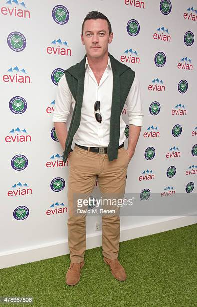 Luke Evans attends the evian Live Young suite on the opening day of Wimbledon at the All England Lawn Tennis and Croquet Club on June 29 2015 in...