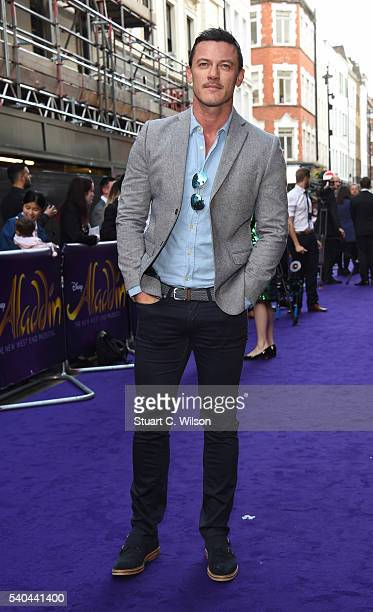Luke Evans attends the Red Carpet arrivals for Disney's New Musical Aladdin at Prince Edward Theatre on June 15 2016 in London England