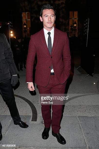 Luke Evans attends the Valentino Show Hommes Menswear Fall/Winter 20152016 Show as part of Paris Fashion Week on January 21 2015 in Paris France