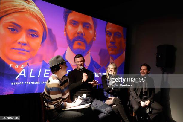"""Luke Evans Dakota Fanning and Daniel Bruhl answer questions following a screening of """"The Alienist"""" presented by Vulture + TNT during Sundance Film..."""