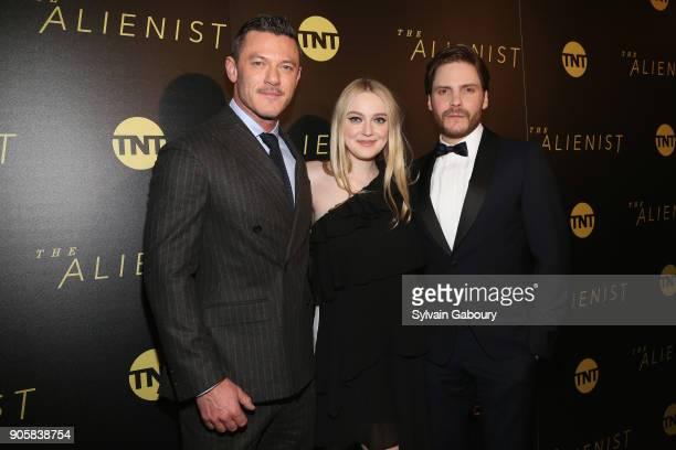 """Luke Evans, Dakota Fanning and Daniel Bruhl attend New York Premiere of TNT's """"The Alienist"""" on January 16, 2018 in New York City."""