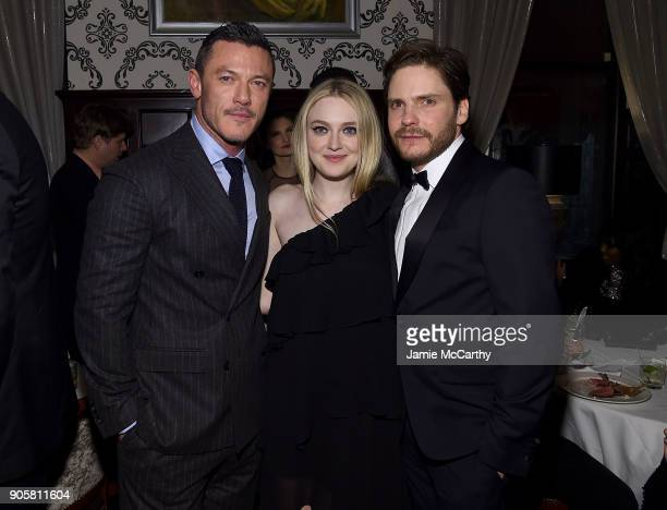 """Luke Evans, Dakota Fanning and Daniel Bruhl attend the New York Premiere Of TNT's """"The Alienist"""" after party at Delmonico's on January 16, 2018 in..."""
