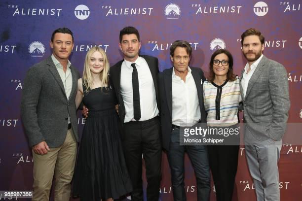 """Luke Evans, Dakota Fanning, Jakob Verbruggen, Michael Kaplan, Sarah Aubrey and Daniel Bruehl, wears BOSS, attend """"The Alienist"""" FYC Event at the 92nd..."""