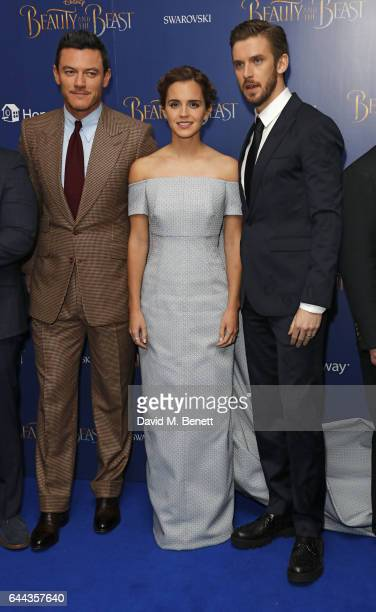 Luke Evans Emma Watson and Dan Stevens attend the UK Premiere of 'Beauty And The Beast' at Odeon Leicester Square on February 23 2017 in London...