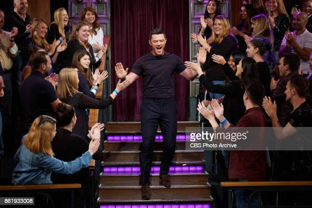 Luke Evans greets the audience during 'The Late Late Show with James Corden' Thursday October 12 2017 On The CBS Television Network