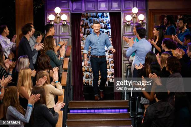 Luke Evans greets the audience during 'The Late Late Show with James Corden' Monday January 29 2018 On The CBS Television Network