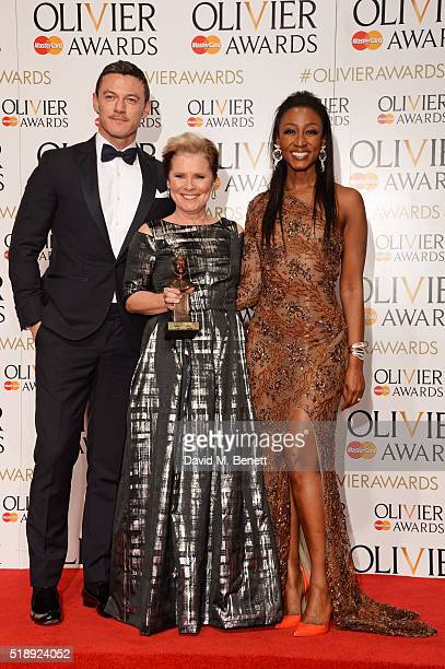 Luke Evans Imelda Staunton winner of the Best Actress in a Musical award for Gypsy and Beverley Knight pose in the Winners Room at The Olivier Awards...