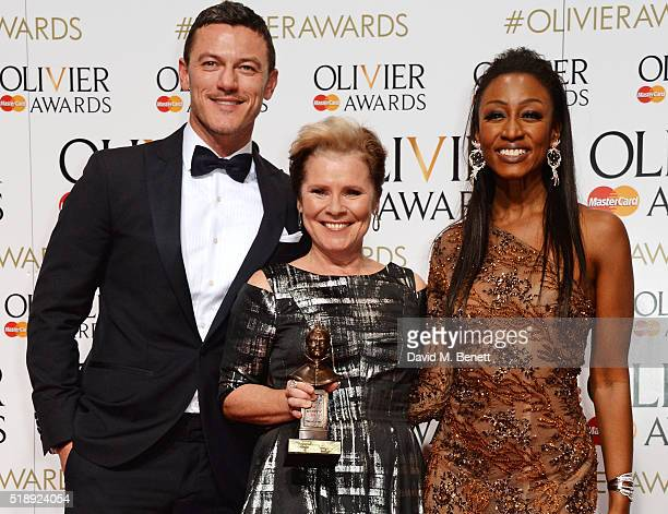 Luke Evans Imelda Staunton winner of the Best Actress in a Musical award for 'Gypsy' and Beverley Knight pose in the Winners Room at The Olivier...