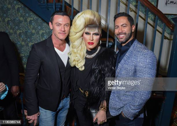 Luke Evans Jodie Harsh and Victor Turpin attend the Victoria Beckham x YouTube Fashion Beauty After Party at London Fashion Week hosted by Derek...