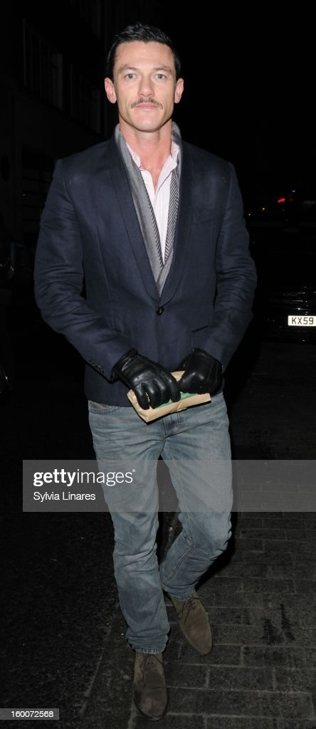 Luke Evans leaving The Vaudeville Theatre on January 25, 2013 in London, England.
