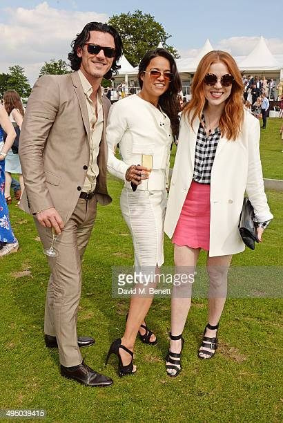 Luke Evans Michelle Rodriguez and Angela Scanlon attend day two of the Audi Polo Challenge at Coworth Park Polo Club on June 1 2014 in Ascot England
