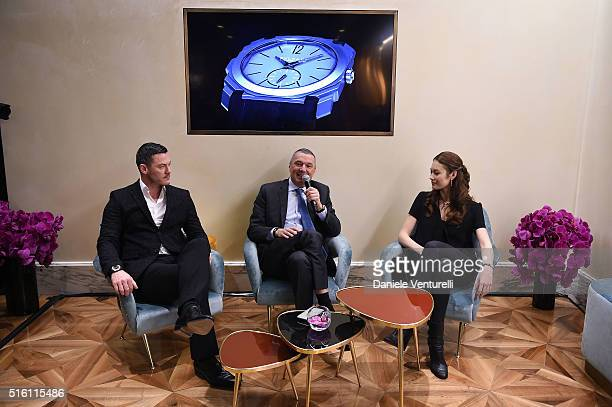 Luke Evans Olga Kurylenko and CEO BVLGARI JeanChristophe Babin attend Bvlgari Press Breakfast at Baselworld 2016 on March 17 2016 in Basel Switzerland