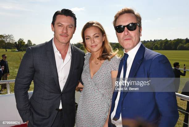 Luke Evans Peggy Nesbitt and James Nesbitt attend the Audi Polo Challenge at Coworth Park on May 7 2017 in Ascot United Kingdom