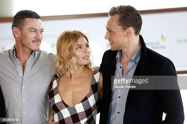Luke Evans Sienna Miller and Tom Hiddleston actors in the movie High Rise at the 63th International Film Festival of San Sebastian