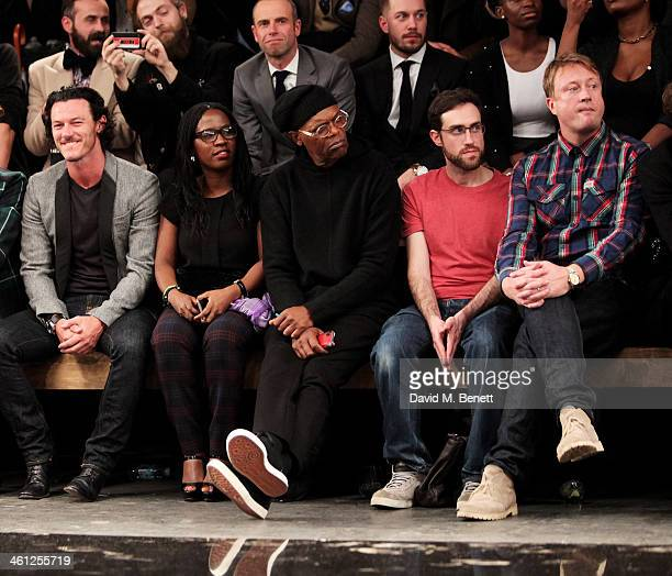 Luke Evans Sofia Davis Samuel L Jackson Beardyman and Adam Dewhurst sit in the front row during the Superdry AW14 catwalk event as part of London...