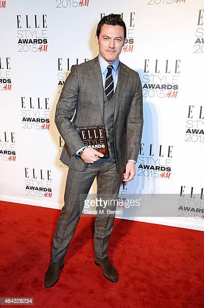 Luke Evans winner of the Actor of the Year award poses in the Winners Room at the Elle Style Awards 2015 at Sky Garden @ The Walkie Talkie Tower on...
