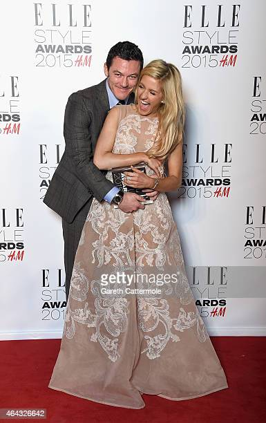 Luke Evans with his Actor of the Year award with award presenter Ellie Goulding during the Elle Style Awards 2015 at Sky Garden @ The Walkie Talkie...