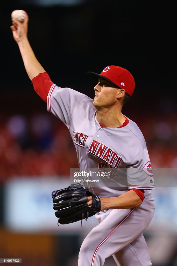 Luke Farrell #52 of the Cincinnati Reds pitches against the St. Louis Cardinals in the ninth inning at Busch Stadium on September 13, 2017 in St. Louis, Missouri.