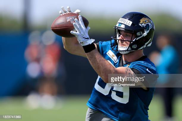Luke Farrell of the Jacksonville Jaguars attempts a reception during Jacksonville Jaguars Mandatory Minicamp at TIAA Bank Field on June 15, 2021 in...