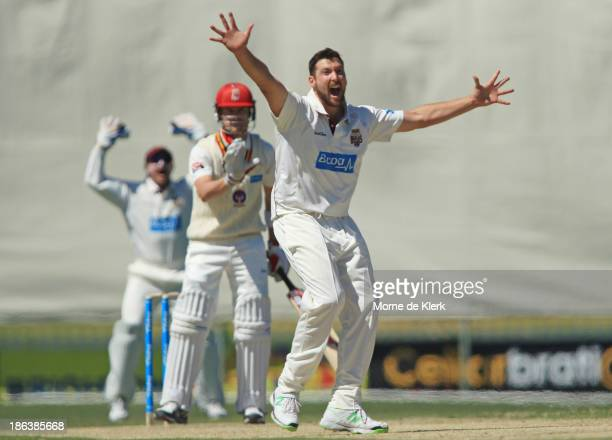 Luke Feldman of the Bulls appeals to get a wicket during day two of the Sheffield Shield match between the South Australia Redbacks and the...