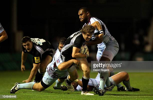 Luke Fielden of Newcastle is tackled during the Amlin Challenge Cup match between Newcastle Falcons and Bourgoin at Kingston Park on October 7, 2010...