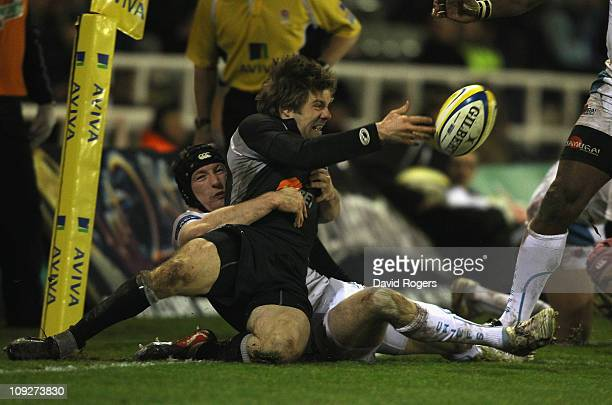 Luke Fielden of Newcastle is tackled Matt Jess during the Aviva Premiership match between Newcastle Falcons and Exeter Chiefs at Kingston Park on...