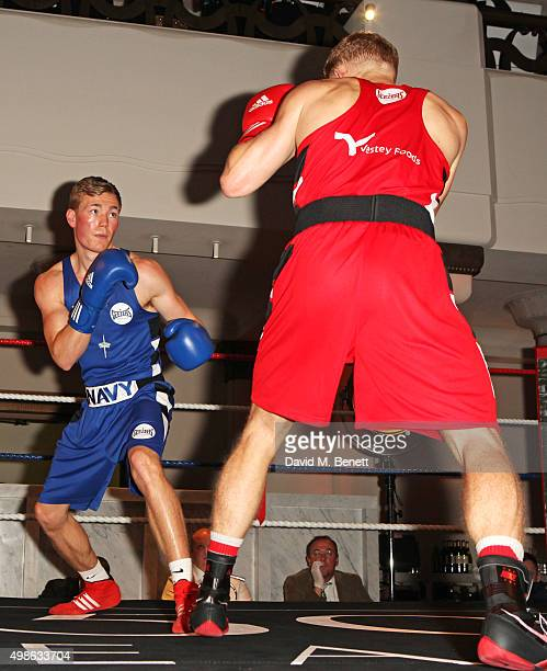 Luke Fisher and Callum Lynn box at the Royal Marines Boxing Bout at Cafe Royal in celebration of their 150th Anniversary on November 24, 2015 in...