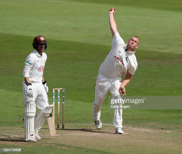 Luke Fletcher of Nottinghamshire bowls during the Specsavers County Championship division one match between Nottinghamshire and Surrey at Trent...