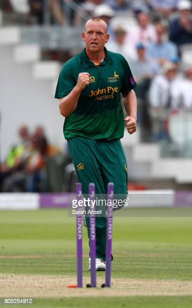 Luke Fletcher of Nottinghamshire celebrates after bowling Gareth Batty of Surrey during the match between Nottinghamshire and Surrey at Lord's...