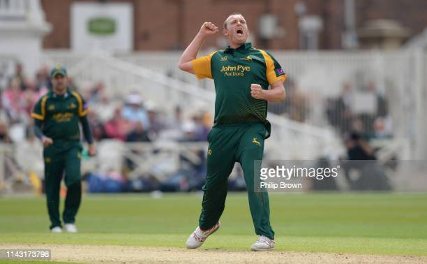 Luke Fletcher of Nottinghamshire celebrates after dismissing Tom Abell of Somerset during the Royal London one-day semi-final between Nottinghamshire...