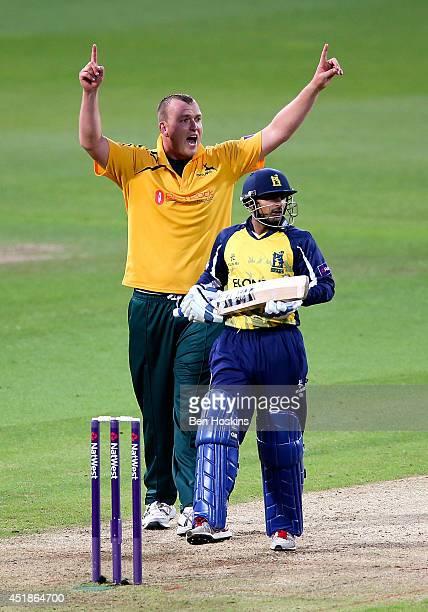 Luke Fletcher of Nottinghamshire celebrates dismissing Ateeq Javid of Birmingham during the Natwest T20 Blast match between Birmingham Bears and...