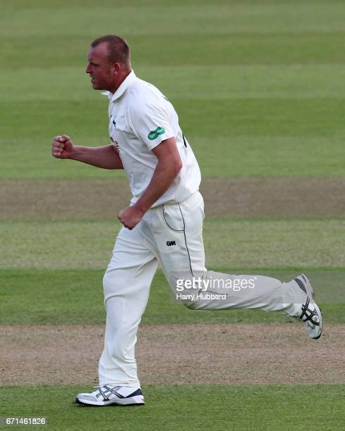 Luke Fletcher of Nottinghamshire celebrates the wicket of Ben Brown of Sussex during Day Two of the Specsavers County Championship Division Two match...