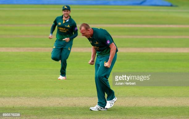 Luke Fletcher of Nottinghamshire Outlaws celebrates after taking the wicket of Steve Davies of Somerset during The Royal London OneDay Cup Play Off...