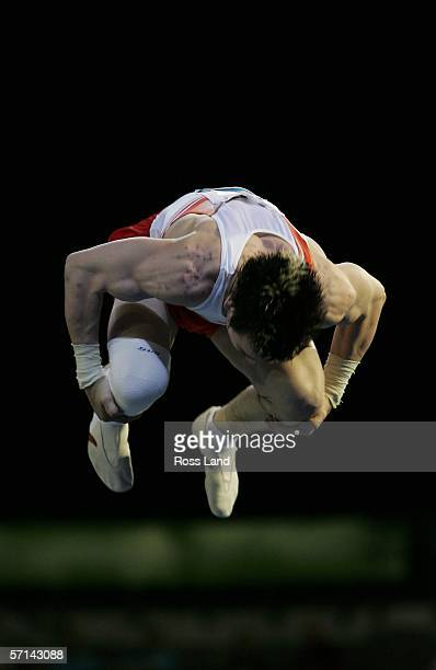 Luke Folwell of England competes in the Men's Vault Final in the artistic gymnastics at the Rod Laver Arena during day six of the Melbourne 2006...