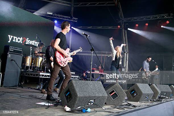 Luke Ford Leila Moss and Toby Butler of The Duke Spirit performs on stage during the first day of YNot Festival 2011 on August 5 2011 in Matlock...