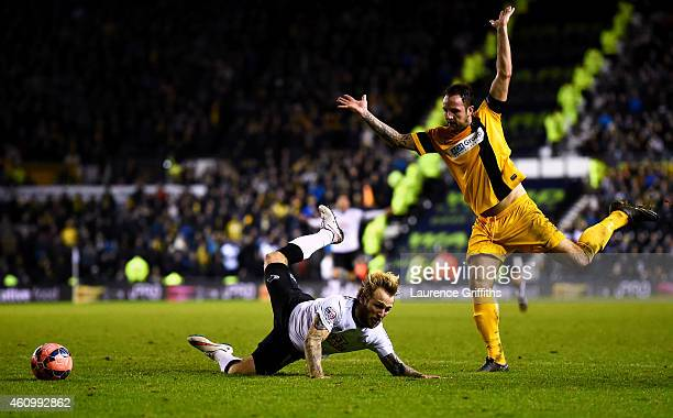 Luke Foster of Southport fouls Johnny Russell of Derby and concedes a penalty during the FA Cup Third Round match between Derby County and Southport...