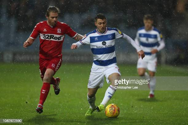 Luke Freeman of QPR battles with Adam Clayton of Boro during the Sky Bet Championship match between Queens Park Rangers and Middlesbrough at Loftus...