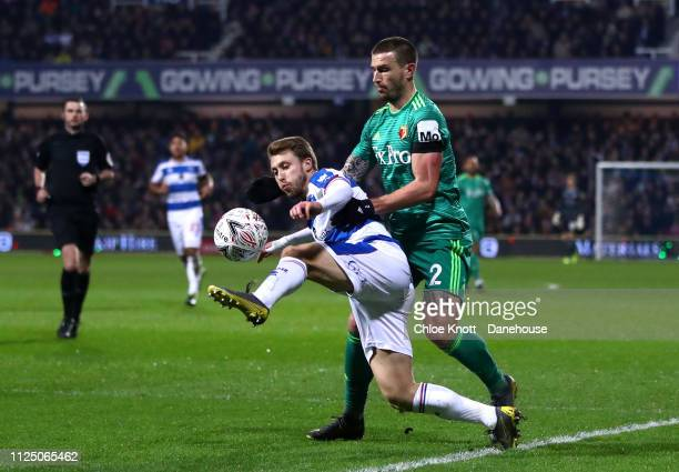 Luke Freeman of Queens Park Rangers and Daryl Janmaat of Watford FC in action during the FA Cup Fifth Round match between Queens Park Rangers and...