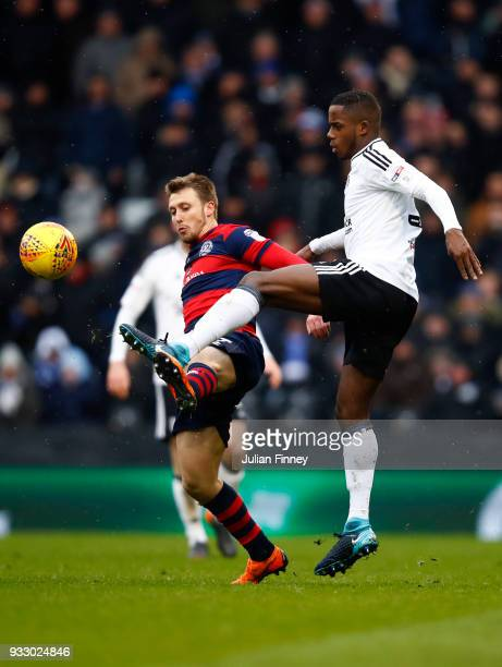 Luke Freeman of Queens Park Rangers and Ryan Sessegnon of Fulham battle for the ball during the Sky Bet Championship match between Fulham and Queens...