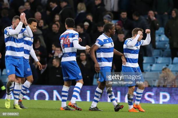 Luke Freeman of Queens Park Rangers celebrates after scoring a goal to make it 30 during the Sky Bet Championship match between Aston Villa and...