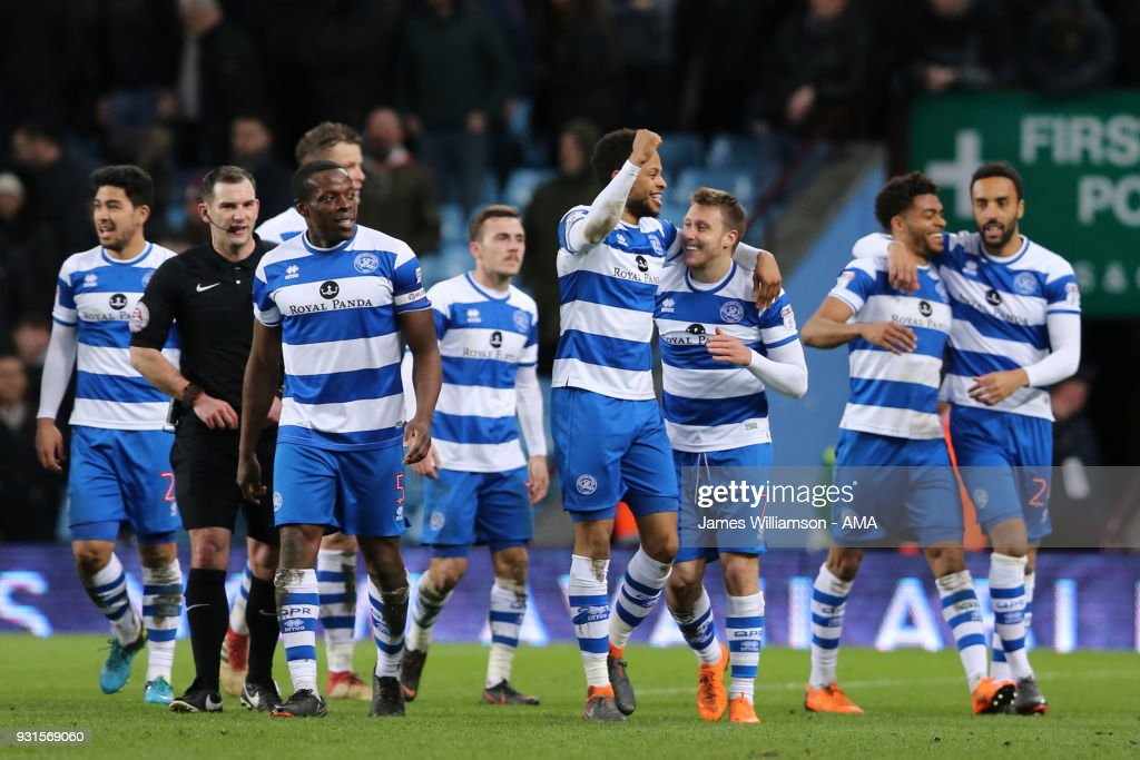 Luke Freeman of Queens Park Rangers celebrates after scoring a goal to make it 3-0 during the Sky Bet Championship match between Aston Villa and Queens Park Rangers at Villa Park on March 13, 2018 in Birmingham, England.