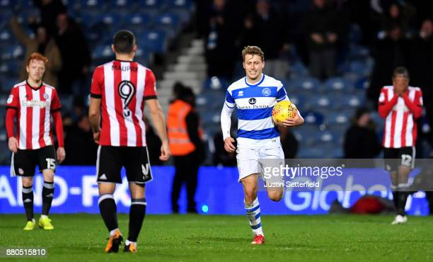 Luke Freeman of Queens Park Rangers celebrates scoring the 2nd QPR goal during the Sky Bet Championship match between Queens Park Rangers and...