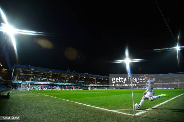 Luke Freeman of Queens Park Rangers takes a corner during the Sky Bet Championship match between Queens Park Rangers and Barnsley at Loftus Road on...