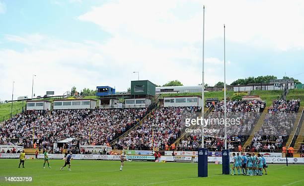 Luke Gale of Bradford kick at goal during the Stobart Superleague match between Bradford Bulls and London Broncos at Odsal Stadium on July 8 2012 in...