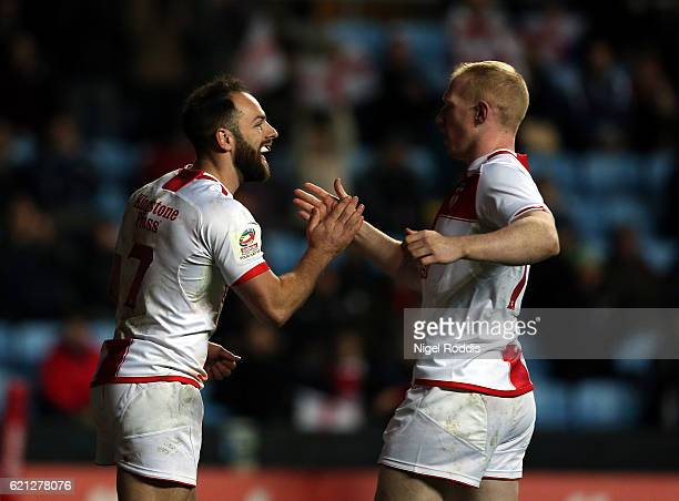 Luke Gale of England celebrates scoring a try during the Four Nations match between the England and Scotland at The Ricoh Arena on November 5 2016 in...