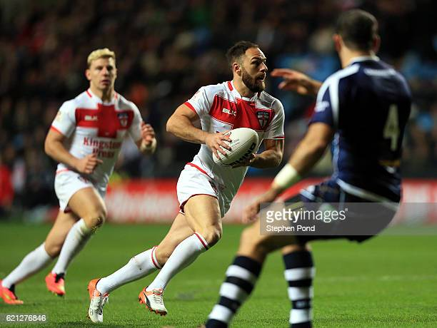 Luke Gale of England in action during the Four Nations match between the England and Scotland at The Ricoh Arena on November 5 2016 in Coventry...