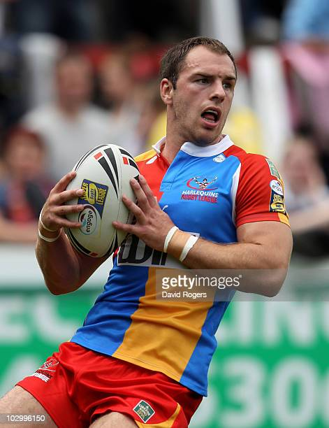 Luke Gale of Harlequins looks on during the Engage Super League match between St Helens and Harlequins RL at Knowsley Road on July 18 2010 in St...