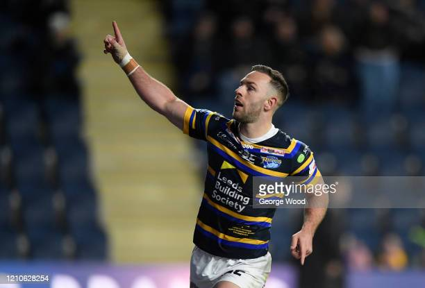 Luke Gale of Leeds Rhinos celebrates after scoring his sides third try during the Betfred Super League match between Leeds Rhinos and Toronto...
