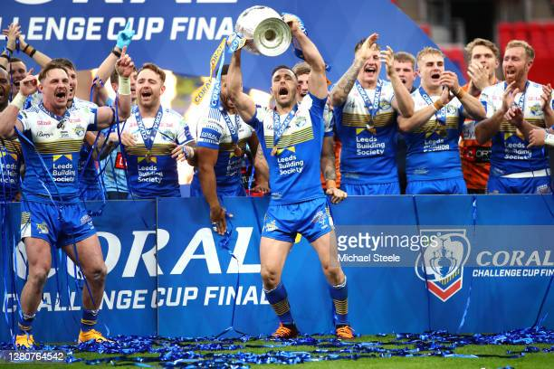 Luke Gale of Leeds Rhinos celebrates with the trophy following the Coral Challenge Cup Final match between Leeds Rhinos and Salford Red Devils at...
